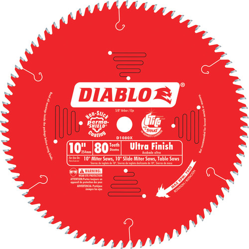 Diablo Ultra Finish Circular Saw Blade  10in., 80 Tooth, For Fine Crosscuts in Hardwood and Softwood,