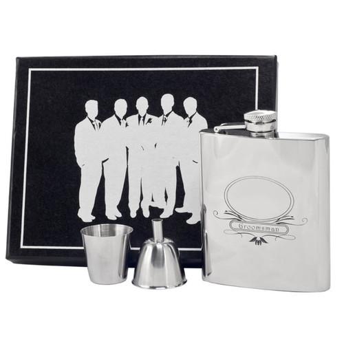 Visol Groomsman Stainless Steel Legion Flask Gift Set - 8 ounces