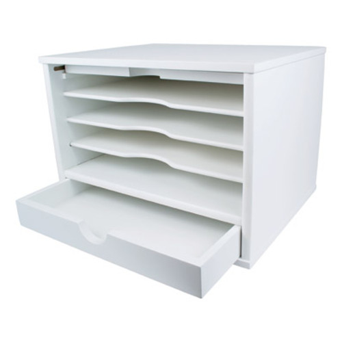Victor Wood Pure White Collection Desktop Organizer, W4720