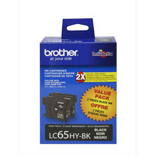Brother LC65HY-BK, High-Yield Black Ink Cartridges, Pack Of 2