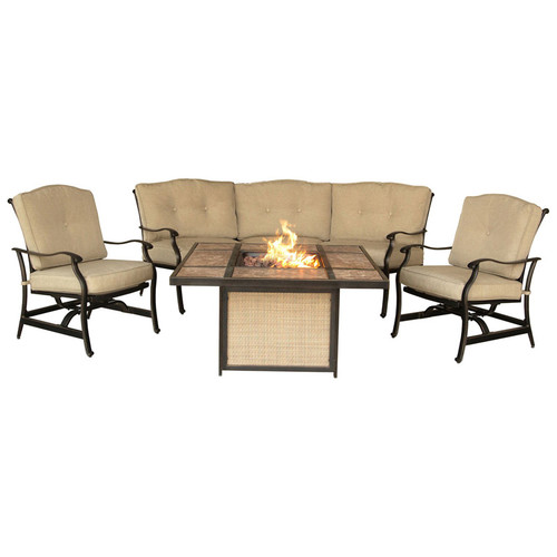 Hanover Traditions 4 Piece Tile Top Fire Pit Lounge Set