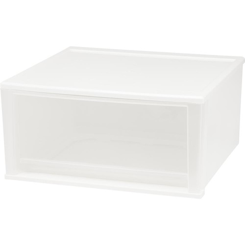 IRIS 51 Qt Stacking Drawer, White - 2 Pack