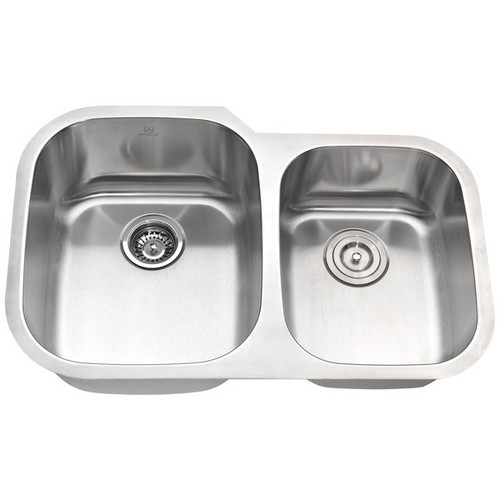 ANZZI MOORE Undermount Stainless Steel 32-inch Double Bowl Kitchen Sink and Faucet Set with Brushed Nickel Harbour Faucet