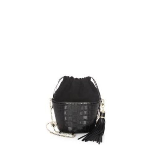 Embossed Leather Bucket Bag