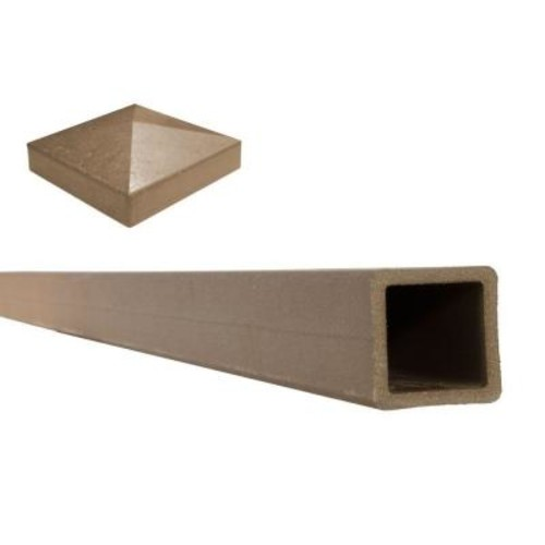 Trex Seclusions 5 in. x 5 in. x 8 ft. Saddle Brown Wood-Plastic Composite Fence Post with Crown Post Cap