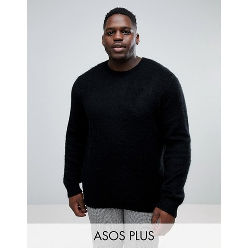 ASOS PLUS Mohair Wool Blend Sweater With Rib In Black