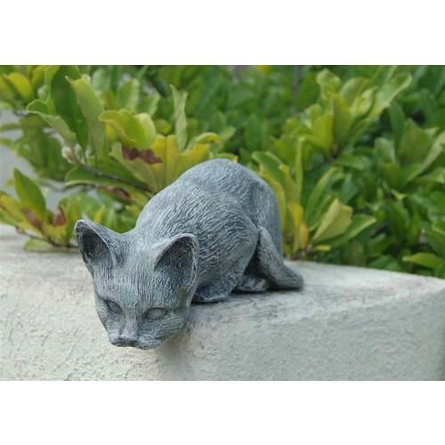 LadyBug Sitting Cat Outdoor Statue, Moss