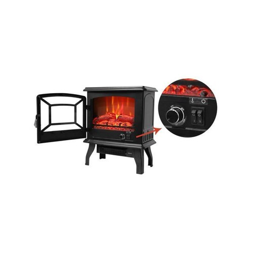Black Vertical Mobile Home Office Heater Warmer Electric Fireplace