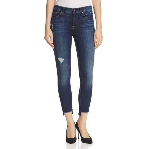 7 FOR ALL MANKIND Skinny Ankle Jeans With Step Hem In Dark Riverside