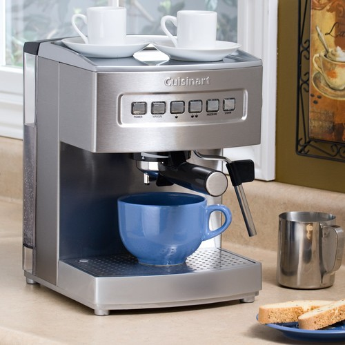 Cuisinart EM-200 Cuisinart Programmable 15-Bar Espresso Maker with Espresso Tamper (50/60mm Size) + 20 oz Frothing Pitcher and Lavazza In Blu Espresso Coffee (8.8oz Can) Bundle