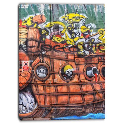 DESIGN ART Designart - Street Art Mural Wall - Graffiti Canvas Art Print