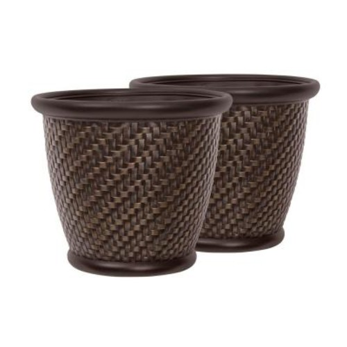 Suncast Herringbone 18 in. Round Bronze Painted Blow Molded Resin Planter (2-Pack)