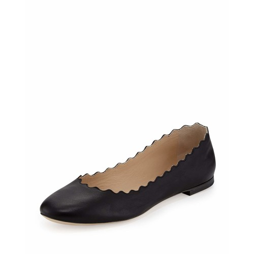 CHLOE Scalloped Calfskin Ballerina Flat, Black