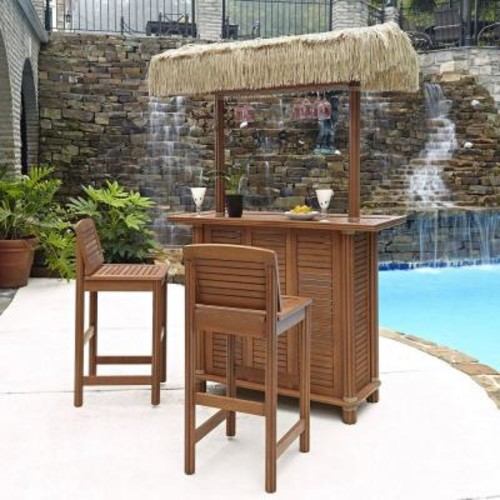 Home Styles Bali Hai Outdoor Patio Tiki Bar and 2-Stools