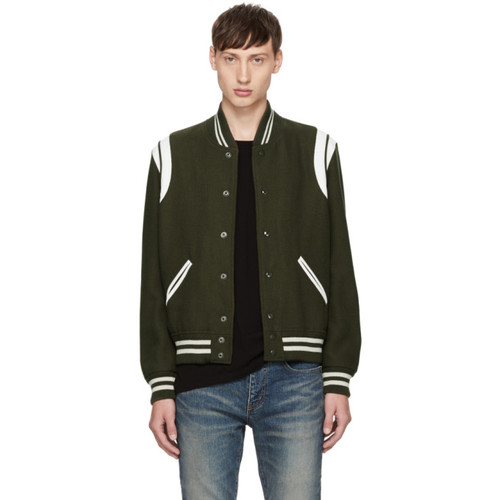 SAINT LAURENT Khaki & White Wool Teddy Bomber Jacket