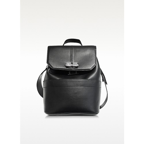 CARVEN Full Joy Black Leather Large Backpack/Shoulder Bag