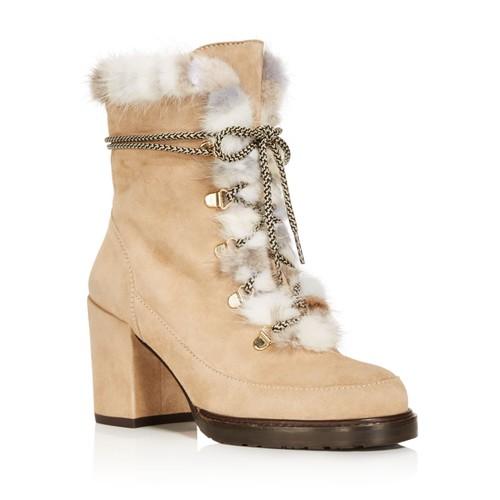 STUART WEITZMAN Women'S Yukon Suede & Mink Fur Lace Up Block Heel Booties