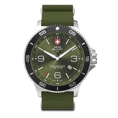 Swiss Military by Charmex Infantry Men's 46mm Watch in Stainless Steel with Green Nylon Strap