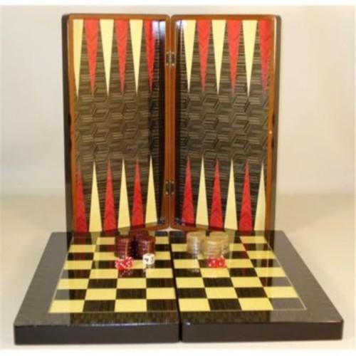 Worldwise Imports 19 In. Black Geometric Decoupage Backgammon - Decoupage Wood Backgammon (Wwi1886)
