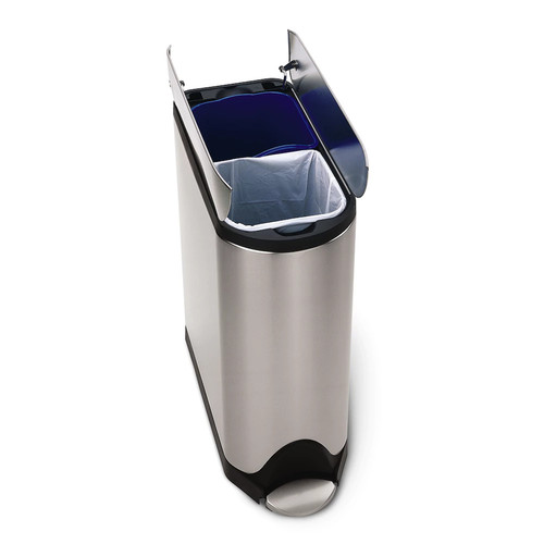 simplehuman 40-Liter Fingerprint-Proof Brushed Stainless Steel Butterfly Step-On Recycling Trash Can