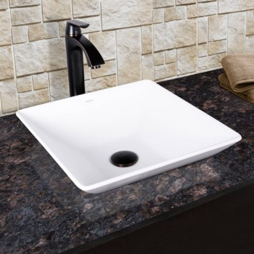 VIGO Matira Matte Stone Vessel Sink and Linus Bathroom Vessel Faucet in Antique Rubbed Bronze w/ Pop up