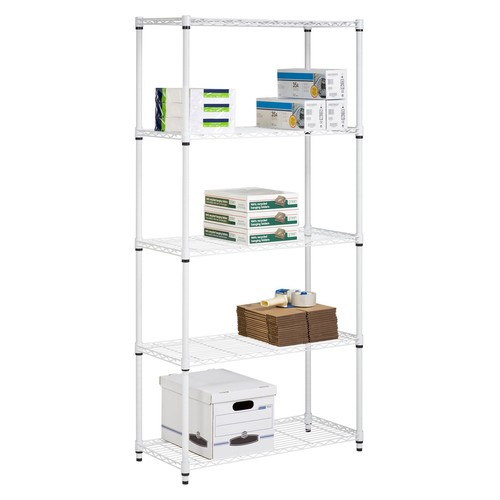 Honey Can Do 5-Shelf Steel Storage Shelving Unit, White