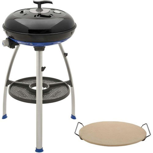 Cadac Carri Chef 2 Portable Propane Gas Grill in Black with Pot Ring, Grill Plate, Pizza Stone, and Split Grill/Griddle