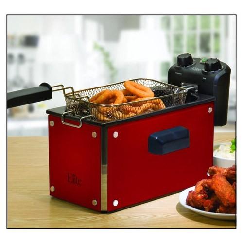 Elite Platinum 3.5Qt. Glass Deep Fryer with Timer - Red