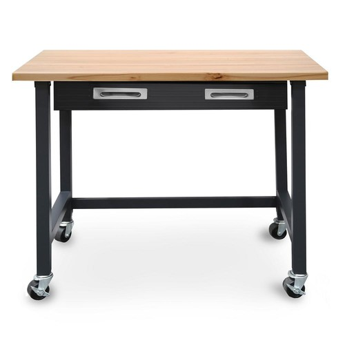 Seville Classics 4 ft. Wood Top Workbench on Wheels with Sliding Organizer Drawer in Graphite