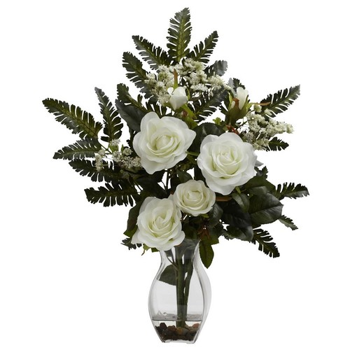 Nearly Natural Rose and Chryistam Arrangement White 1308-WH