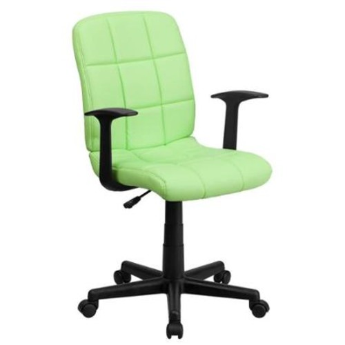 Flash Furniture Mid-Back Quilted Vinyl Swivel Task Chair with Nylon Arms, Multiple Colors