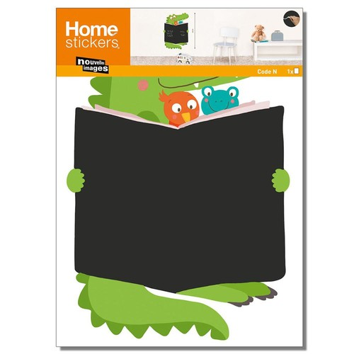 Nouvelles Images Multicolor Crocodile Book Chalkboard Home Sticker