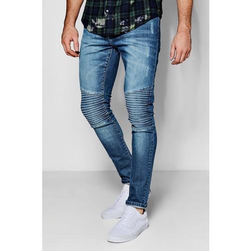 Blue Wash Stretch Skinny Biker Jeans