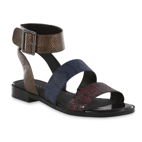 Metaphor Women's Wanda Blue/Multicolor Moc Snakeskin Sandal [Width : Medium]