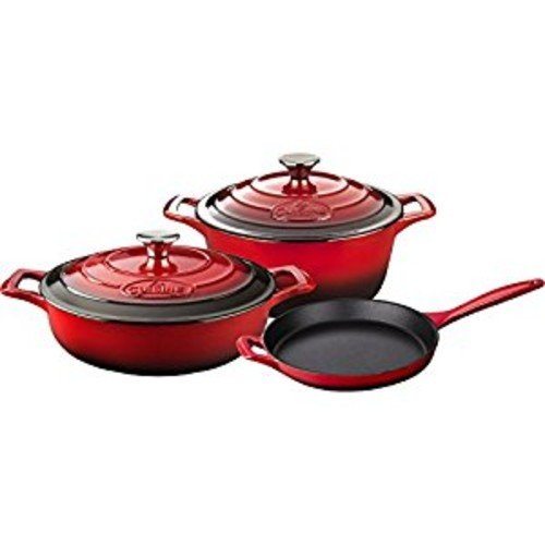 La Cuisine LC 2600 5 Piece Enameled Cast Iron Round Casserole Cookware Set, Red [Red]