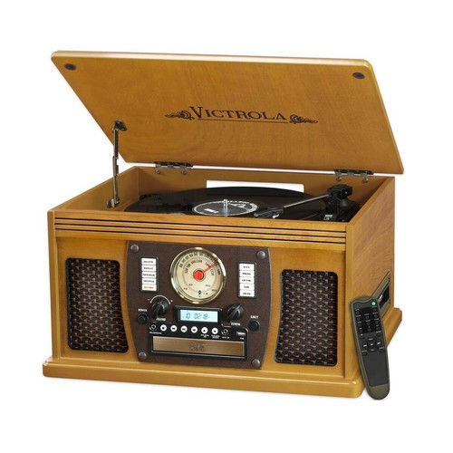 Victrola 7-in-1 Bluetooth Record Player with USB Recording in Oak
