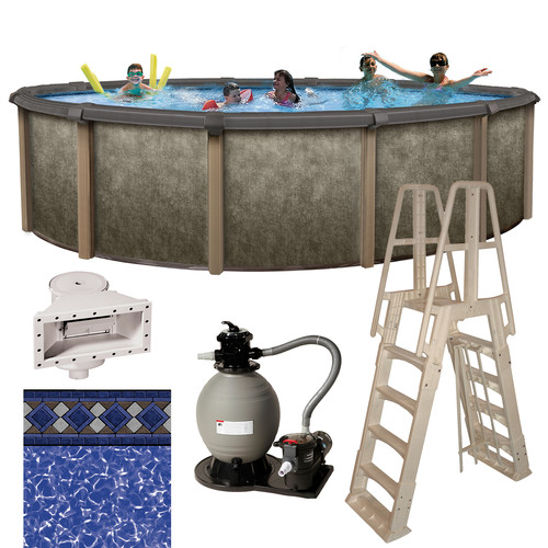 Blue Wave Riviera 27' Round Metal Wall Swimming Pool Package