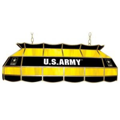 Trademark United States Army 3-Light Stained Glass Hanging Tiffany Lamp