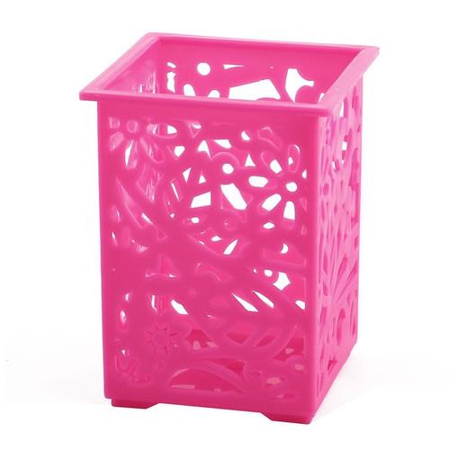 Plastic Rectangle Design Staple Goods Storage Boxes Container Holder Fuchsia