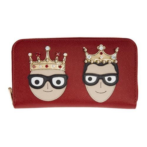 DOLCE & GABBANA Red Crowned Designers Zip Around Wallet