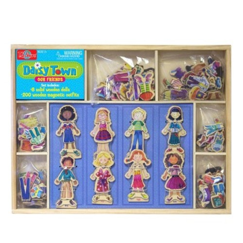 T.S. Shure Daisy Girls Daisy Town 8 Wooden Magnetic Dress-Up Dolls Set