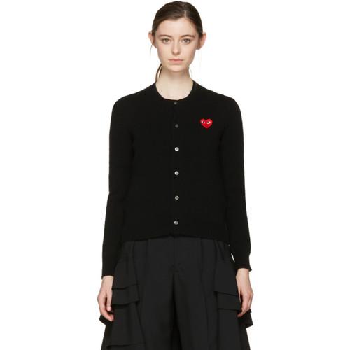 COMME DES GARÇONS PLAY Black Wool Heart Patch Cardigan