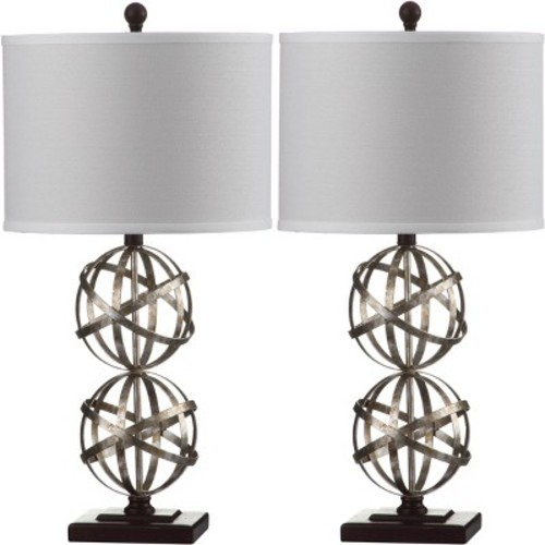 Safavieh Haley Double Sphere 28 in. Antique Silver Table Lamp with Off-White Shade (Set of 2)