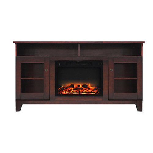 Cambridge Savona Electric Fireplace With Entertainment Stand, Enhanced Log Display, Mahogany