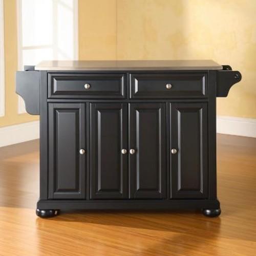 Crosley Furniture KF30002ABK Alexandria Stainless Steel Top Kitchen Island in Black Finish