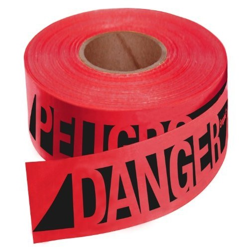 Empire 76-0604 Reinforced Construction Grade Danger/Peligro Tape Red with Black Ink, 500-Feet by 3-Inch
