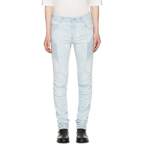 Blue Biker Skinny Jeans