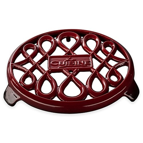 La Cuisine Cast Iron Round Trivet in Red