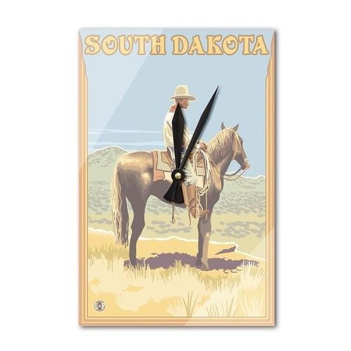 South Dakota - Cowboy (Side View) - LP Artwork (Acrylic Wall Clock) - acrylic wall clock