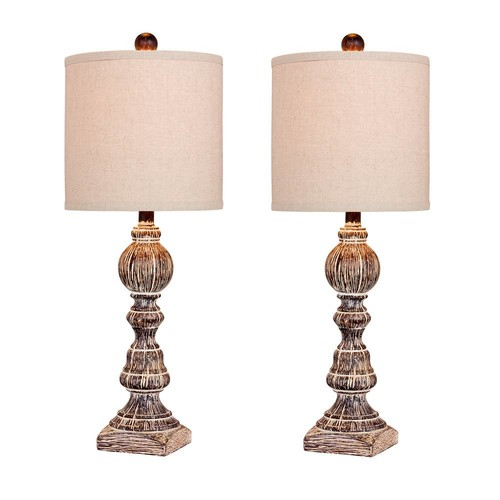 Fangio Lighting Pair of 26 in. Distressed Balustrade Resin Table Lamps in a Cottage Antique Brown